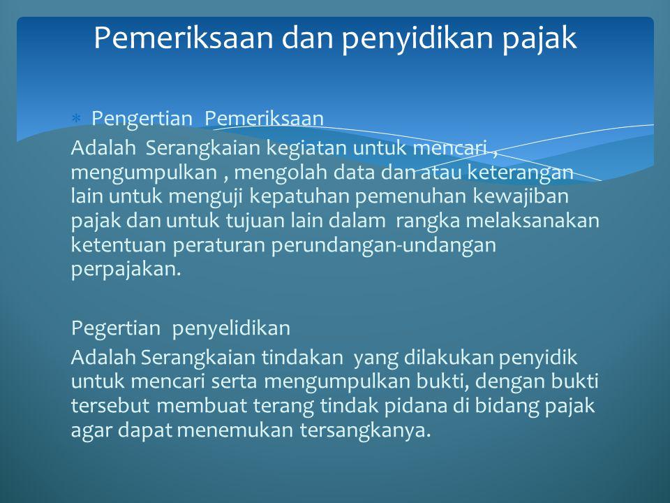 Sanksi Pidana Sanksi Pidana merupakan upaya terakhir untuk meningkatkan kepatuhan Wajib Pajak.