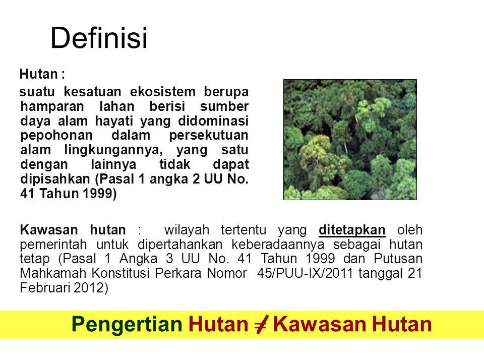 KEMENTERIAN KEHUTANANKEMENTERIAN KEHUTANAN DIREKTORAT JENDERAL PLANOLOGI KEHUTANANDIREKTORAT JENDERAL PLANOLOGI KEHUTANAN KEMENTERIAN KEHUTANAN Catatan : *) Luas kawasan tersebut akan terkoreksi setelah perubahan kawasan hutan dalam rangka review RTRWP ditetapkan KawasanLuas (± ha) HUTAN KONSERVASI (HK) DARATAN21.812.916,93 HUTAN LINDUNG (HL)29.994.821,01 HUTAN PRODUKSI TERBATAS (HPT)27.952.731,14 HUTAN PRODUKSI TETAP (HP)28.820.149,51 HUTAN PRODUKSI YG DAPAT DIKONVERSI (HPK) 17.173.691,76 LUAS KAWASAN HUTAN DARATAN125.754.310,35 KAWASAN KONSERVASI PERAIRAN5.402.594,62 LUAS KAWASAN HUTAN DARATAN DAN PERAIRAN 131.156.904,97