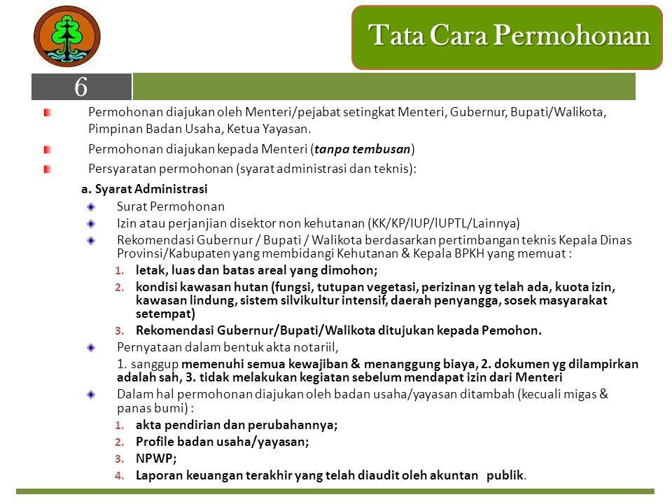 Tata Cara Permohonan Permohonan diajukan oleh Menteri/pejabat setingkat Menteri, Gubernur, Bupati/Walikota, Pimpinan Badan Usaha, Ketua Yayasan. Permo