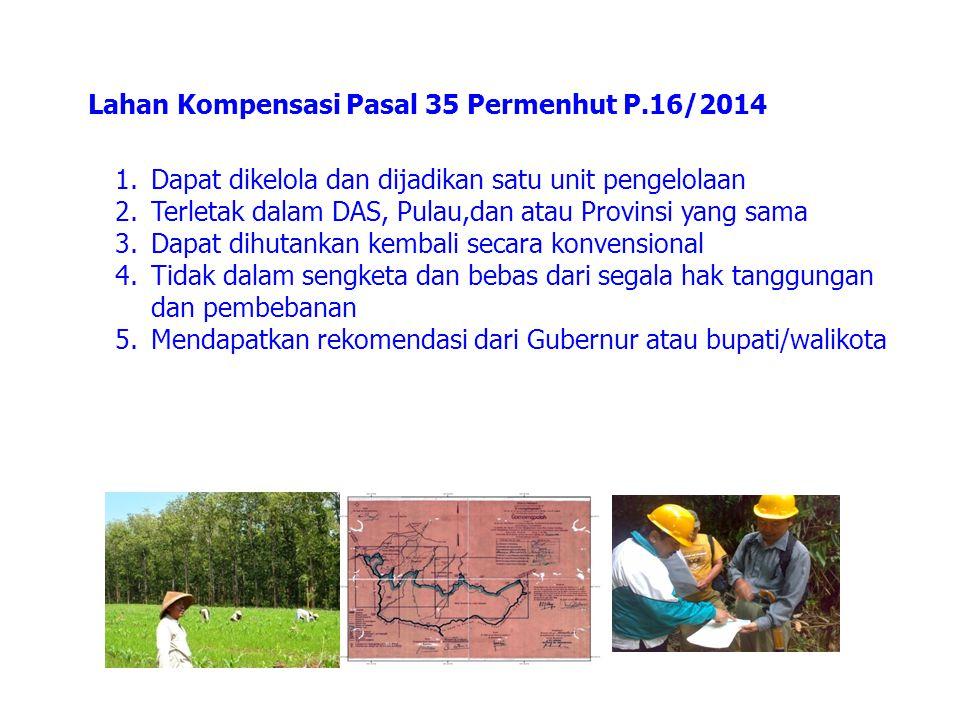Lahan Kompensasi Pasal 35 Permenhut P.16/2014 1.Dapat dikelola dan dijadikan satu unit pengelolaan 2.Terletak dalam DAS, Pulau,dan atau Provinsi yang
