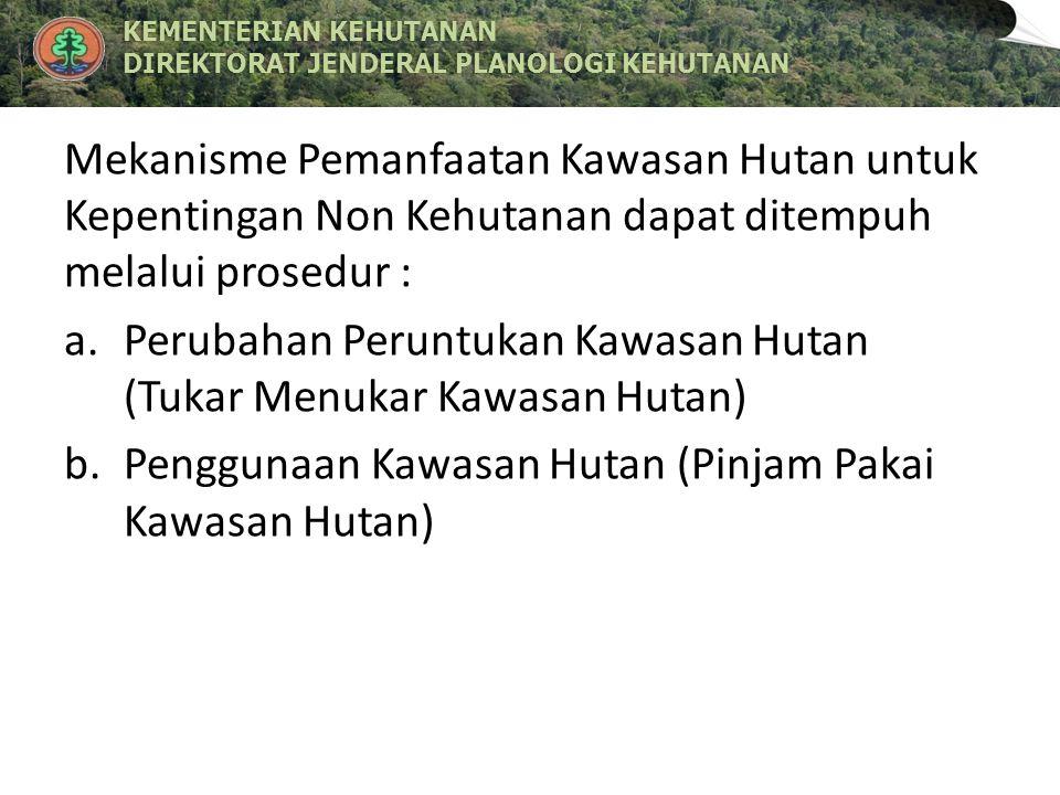 KEMENTERIAN KEHUTANANKEMENTERIAN KEHUTANAN DIREKTORAT JENDERAL PLANOLOGI KEHUTANANDIREKTORAT JENDERAL PLANOLOGI KEHUTANAN POKOK BAHASAN : 1.Tata Cara Perubahan Peruntukan dan Fungsi Kawasan Hutan a.