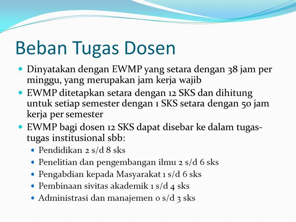 Beban Tugas Dosen Dinyatakan dengan EWMP yang setara dengan 38 jam per minggu, yang merupakan jam kerja wajib EWMP ditetapkan setara dengan 12 SKS dan