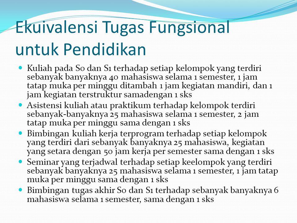 Ekuivalensi Tugas Fungsional untuk Pendidikan Kuliah pada S0 dan S1 terhadap setiap kelompok yang terdiri sebanyak banyaknya 40 mahasiswa selama 1 sem