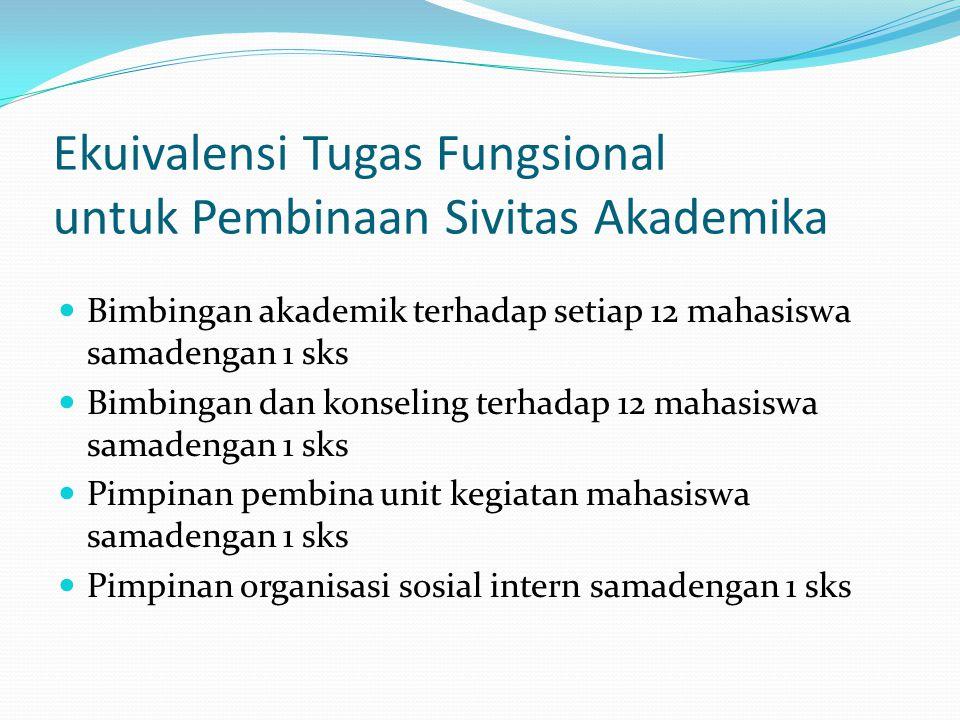 Ekuivalensi Tugas Fungsional untuk Pembinaan Sivitas Akademika Bimbingan akademik terhadap setiap 12 mahasiswa samadengan 1 sks Bimbingan dan konselin