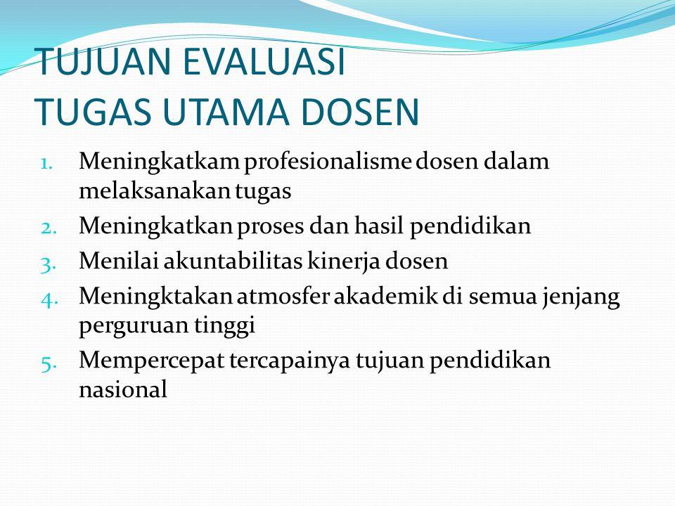 TUJUAN EVALUASI TUGAS UTAMA DOSEN 1. Meningkatkam profesionalisme dosen dalam melaksanakan tugas 2. Meningkatkan proses dan hasil pendidikan 3. Menila