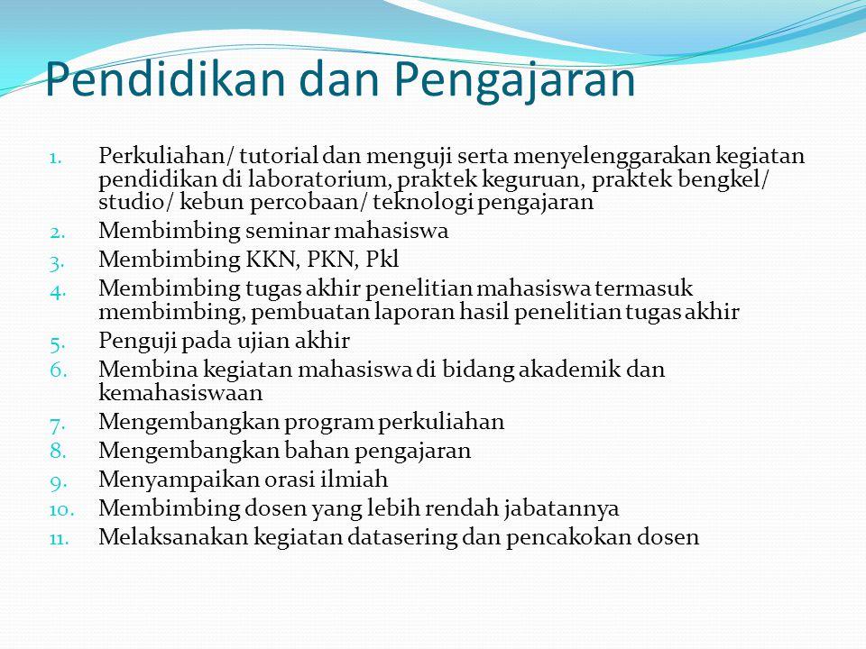 Pendidikan dan Pengajaran 1. Perkuliahan/ tutorial dan menguji serta menyelenggarakan kegiatan pendidikan di laboratorium, praktek keguruan, praktek b