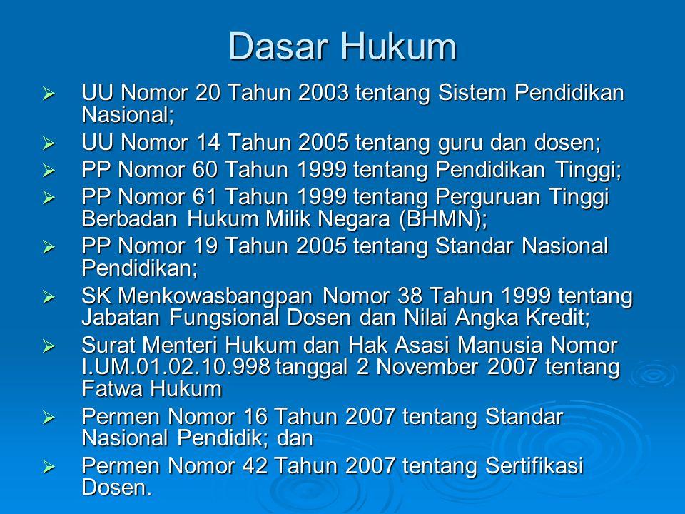 Dasar Hukum  UU Nomor 20 Tahun 2003 tentang Sistem Pendidikan Nasional;  UU Nomor 14 Tahun 2005 tentang guru dan dosen;  PP Nomor 60 Tahun 1999 ten