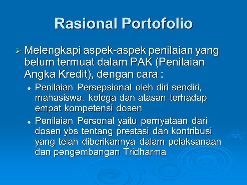 Rasional Portofolio  Melengkapi aspek-aspek penilaian yang belum termuat dalam PAK (Penilaian Angka Kredit), dengan cara : Penilaian Persepsional ole