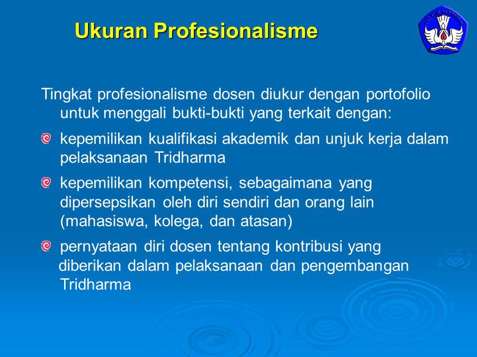 Ukuran Profesionalisme Tingkat profesionalisme dosen diukur dengan portofolio untuk menggali bukti-bukti yang terkait dengan: kepemilikan kualifikasi