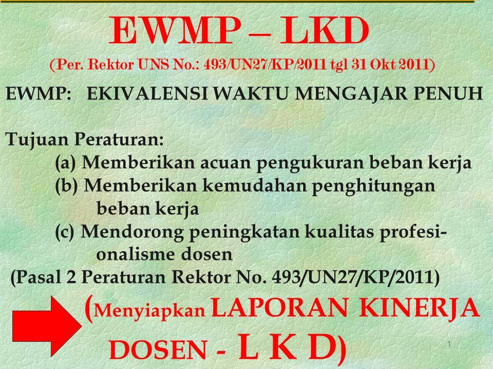 1 EWMP – LKD (Per. Rektor UNS No.: 493/UN27/KP/2011 tgl 31 Okt 2011) EWMP: EKIVALENSI WAKTU MENGAJAR PENUH Tujuan Peraturan: (a) Memberikan acuan peng