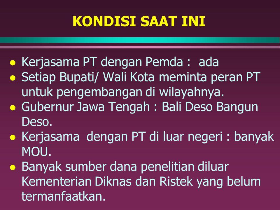 KONDISI SAAT INI l Kerjasama PT dengan Pemda : ada l Setiap Bupati/ Wali Kota meminta peran PT untuk pengembangan di wilayahnya. l Gubernur Jawa Tenga