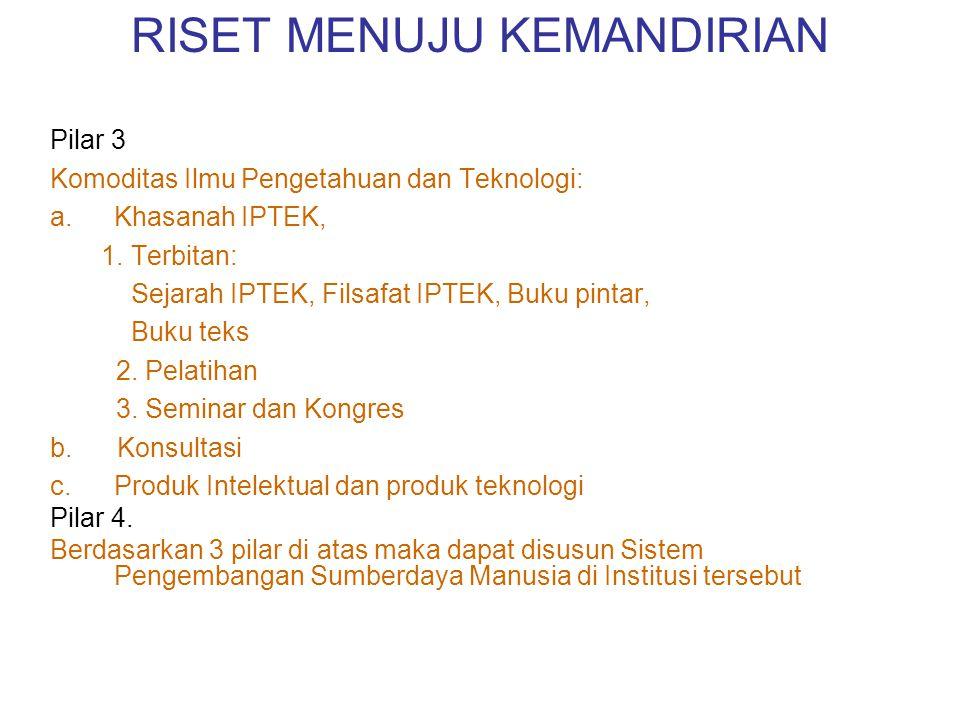 RISET MENUJU KEMANDIRIAN Pilar 3 Komoditas Ilmu Pengetahuan dan Teknologi: a.Khasanah IPTEK, 1.