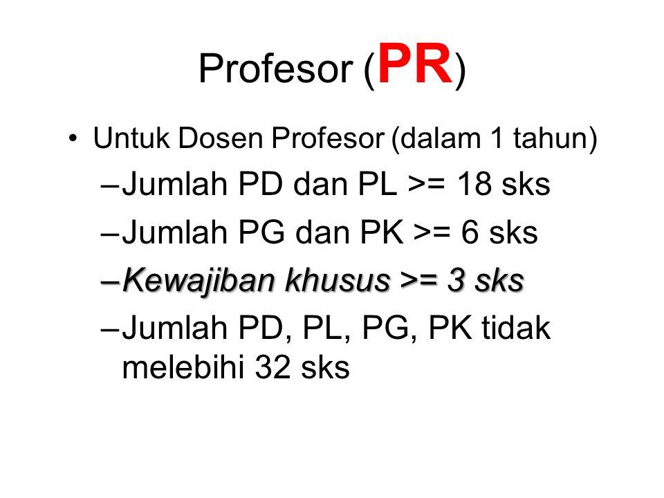 Profesor ( PR ) Untuk Dosen Profesor (dalam 1 tahun) –Jumlah PD dan PL >= 18 sks –Jumlah PG dan PK >= 6 sks –Kewajiban khusus >= 3 sks –Jumlah PD, PL, PG, PK tidak melebihi 32 sks