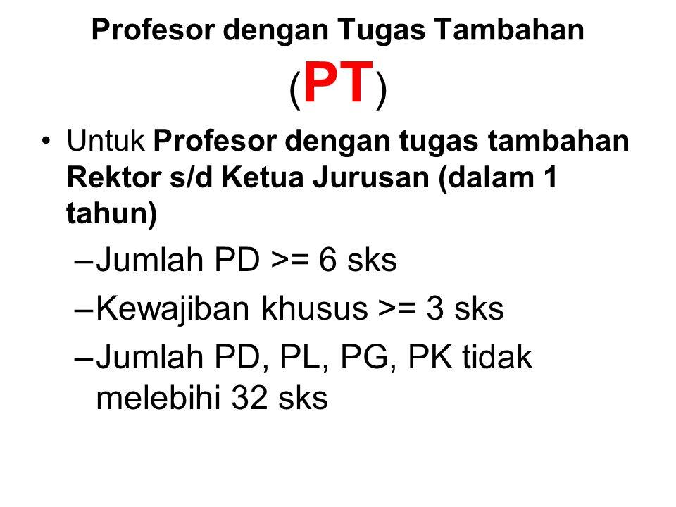 Profesor dengan Tugas Tambahan ( PT ) Untuk Profesor dengan tugas tambahan Rektor s/d Ketua Jurusan (dalam 1 tahun) –Jumlah PD >= 6 sks –Kewajiban khusus >= 3 sks –Jumlah PD, PL, PG, PK tidak melebihi 32 sks