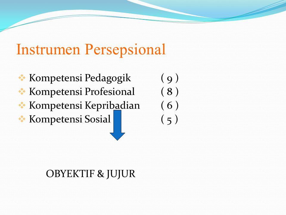 Instrumen Persepsional  Kompetensi Pedagogik ( 9 )  Kompetensi Profesional ( 8 )  Kompetensi Kepribadian ( 6 )  Kompetensi Sosial( 5 ) OBYEKTIF & JUJUR