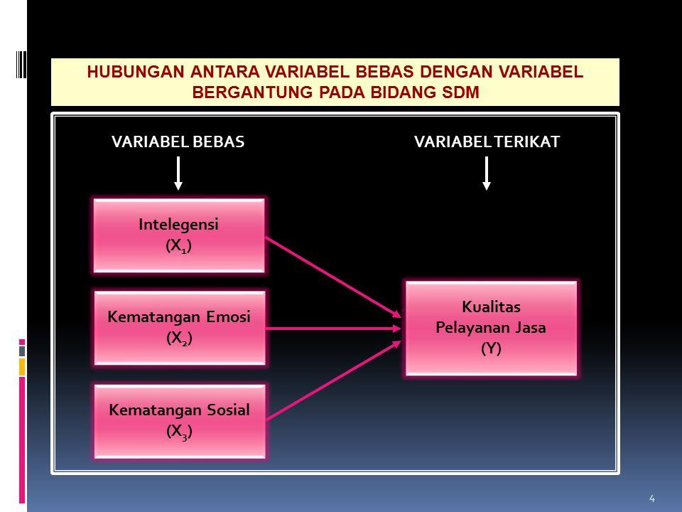 4 HUBUNGAN ANTARA VARIABEL BEBAS DENGAN VARIABEL BERGANTUNG PADA BIDANG SDM VARIABEL TERIKATVARIABEL BEBAS Kematangan Emosi (X 2 ) Intelegensi (X 1 )