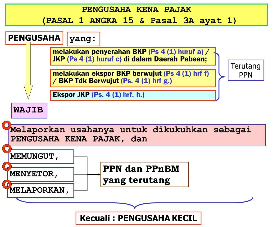 PENGUSAHA KENA PAJAK (PASAL 1 ANGKA 15 & Pasal 3A ayat 1) PENGUSAHA yang: melakukan penyerahan BKP (Ps 4 (1) huruf a) / JKP (Ps 4 (1) huruf c) di dala