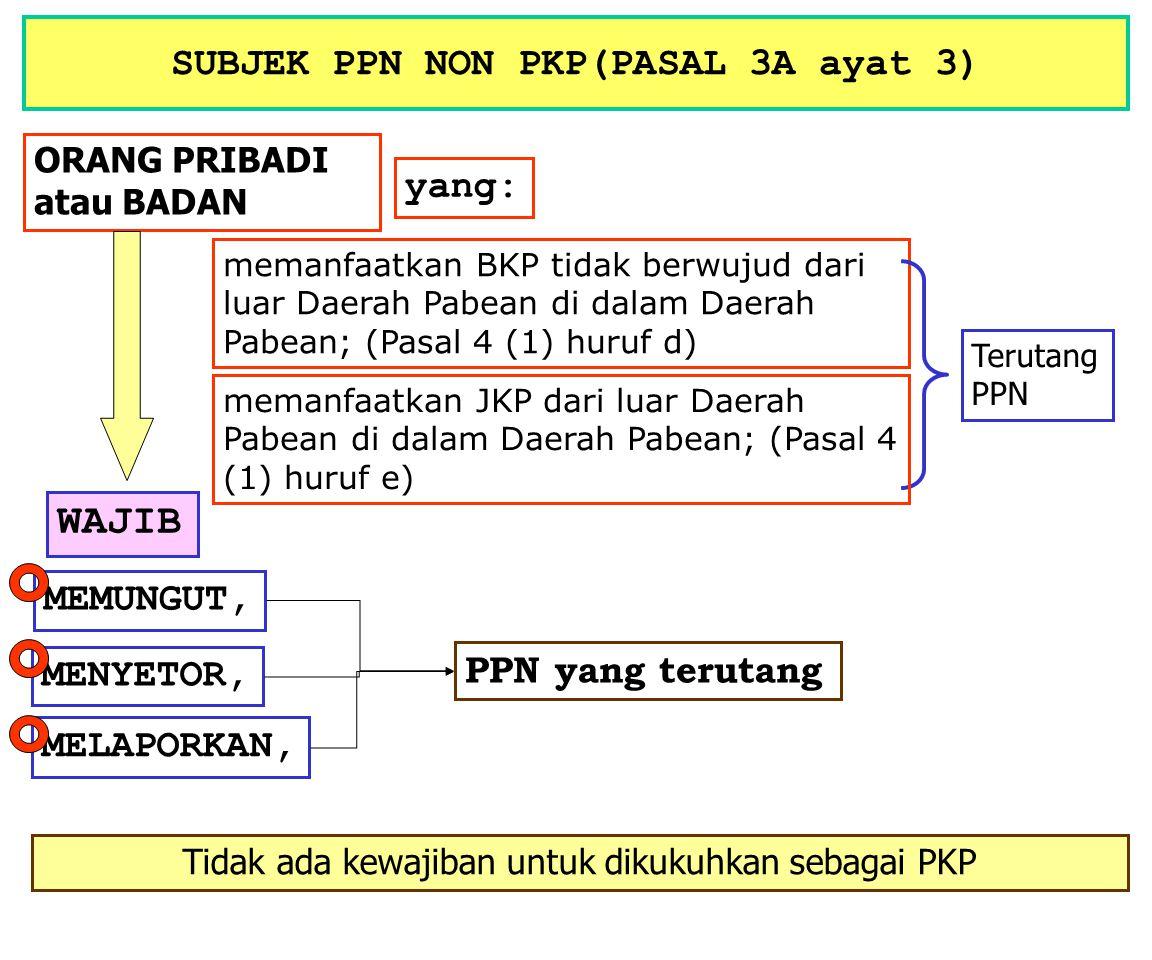 SUBJEK PPN PKPNON PKP melakukan penyerahan BKP (Ps 4 (1) huruf a) / JKP (Ps 4 (1) huruf c) di dalam Daerah Pabean; Kecuali : PENGUSAHA KECIL melakukan ekspor BKP berwujut (Ps 4 (1) hrf f) / BKP Tdk Berwujut (Ps.