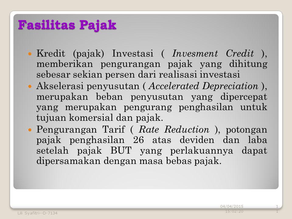 Fasilitas Pajak Kredit (pajak) Investasi ( Invesment Credit ), memberikan pengurangan pajak yang dihitung sebesar sekian persen dari realisasi investasi Akselerasi penyusutan ( Accelerated Depreciation ), merupakan beban penyusutan yang dipercepat yang merupakan pengurang penghasilan untuk tujuan komersial dan pajak.