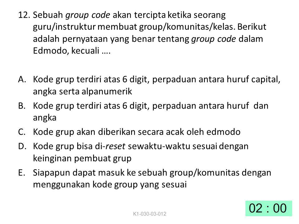 12.Sebuah group code akan tercipta ketika seorang guru/instruktur membuat group/komunitas/kelas.