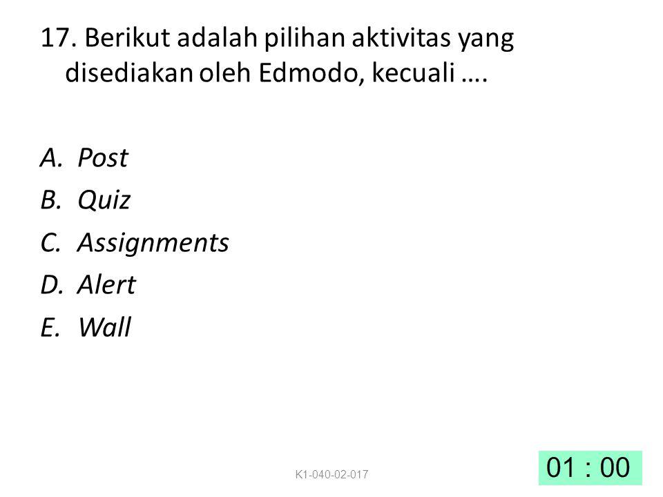 17.Berikut adalah pilihan aktivitas yang disediakan oleh Edmodo, kecuali ….