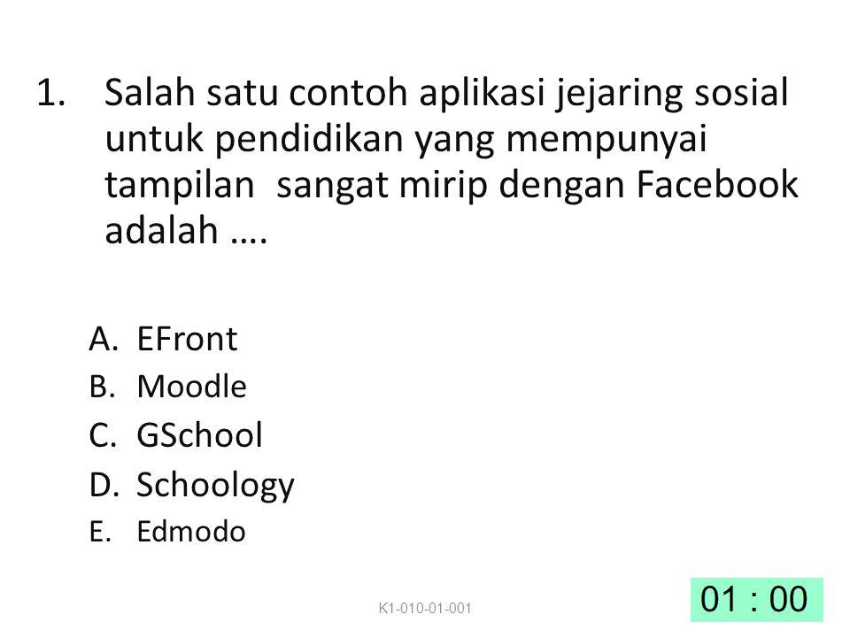 1.Salah satu contoh aplikasi jejaring sosial untuk pendidikan yang mempunyai tampilan sangat mirip dengan Facebook adalah ….
