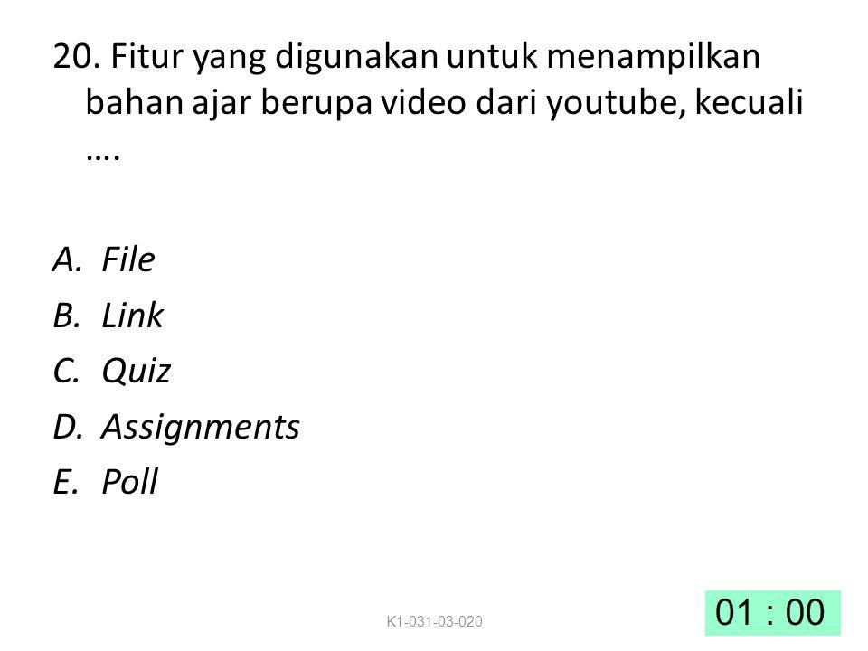 20.Fitur yang digunakan untuk menampilkan bahan ajar berupa video dari youtube, kecuali ….