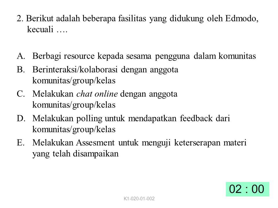 2.Berikut adalah beberapa fasilitas yang didukung oleh Edmodo, kecuali ….