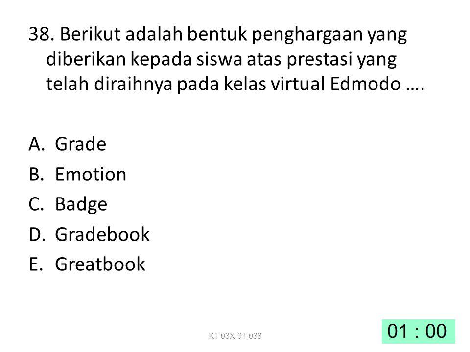 38. Berikut adalah bentuk penghargaan yang diberikan kepada siswa atas prestasi yang telah diraihnya pada kelas virtual Edmodo …. A.Grade B.Emotion C.