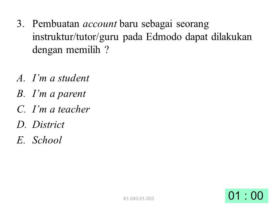 3.Pembuatan account baru sebagai seorang instruktur/tutor/guru pada Edmodo dapat dilakukan dengan memilih .