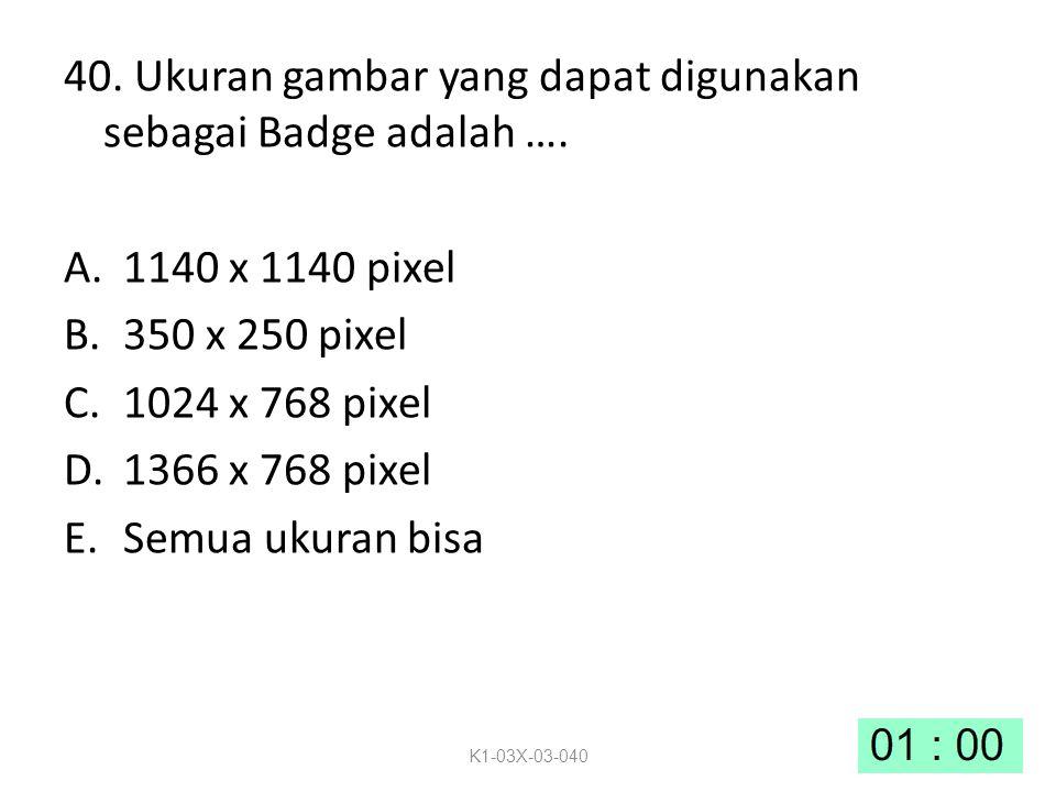40.Ukuran gambar yang dapat digunakan sebagai Badge adalah ….