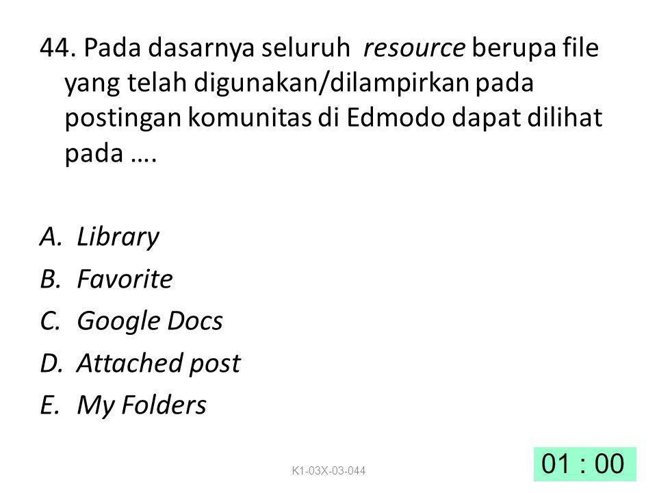 44. Pada dasarnya seluruh resource berupa file yang telah digunakan/dilampirkan pada postingan komunitas di Edmodo dapat dilihat pada …. A.Library B.F