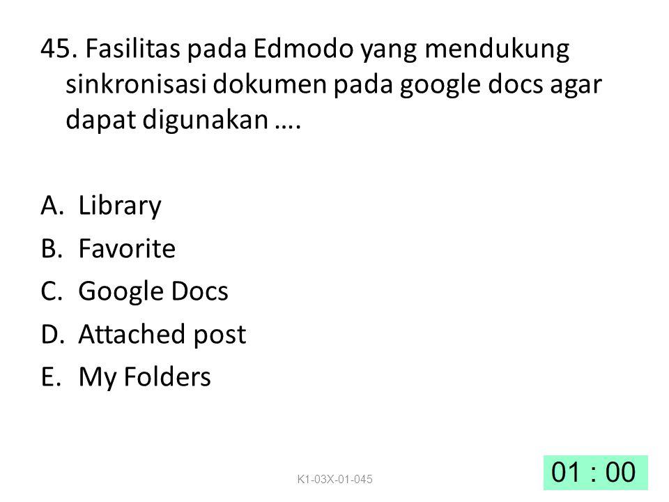 45. Fasilitas pada Edmodo yang mendukung sinkronisasi dokumen pada google docs agar dapat digunakan …. A.Library B.Favorite C.Google Docs D.Attached p