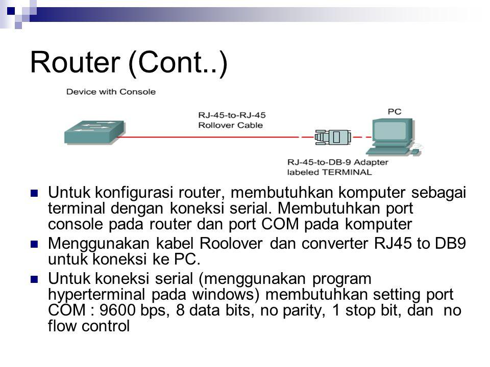 Router (Cont..) Untuk konfigurasi router, membutuhkan komputer sebagai terminal dengan koneksi serial. Membutuhkan port console pada router dan port C