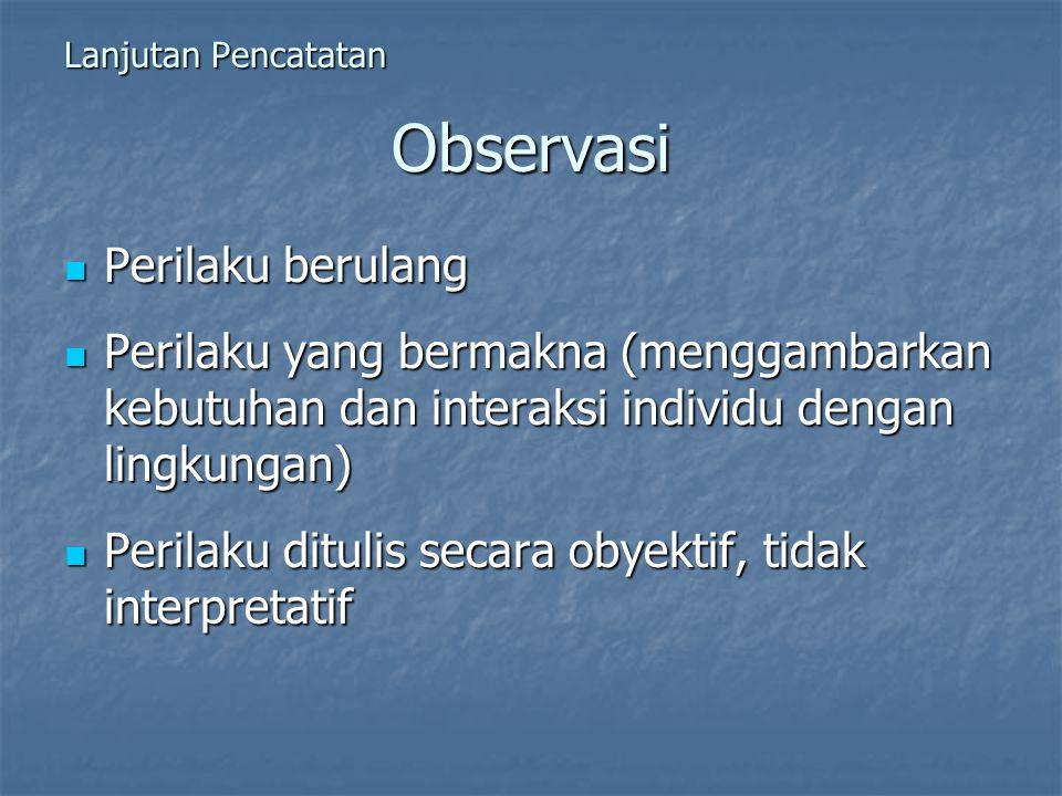 Observasi Perilaku berulang Perilaku berulang Perilaku yang bermakna (menggambarkan kebutuhan dan interaksi individu dengan lingkungan) Perilaku yang