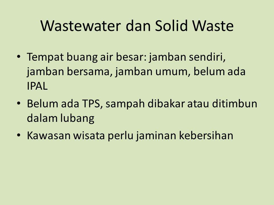 Wastewater dan Solid Waste Tempat buang air besar: jamban sendiri, jamban bersama, jamban umum, belum ada IPAL Belum ada TPS, sampah dibakar atau diti