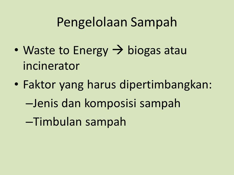 Pengelolaan Sampah Waste to Energy  biogas atau incinerator Faktor yang harus dipertimbangkan: – Jenis dan komposisi sampah – Timbulan sampah