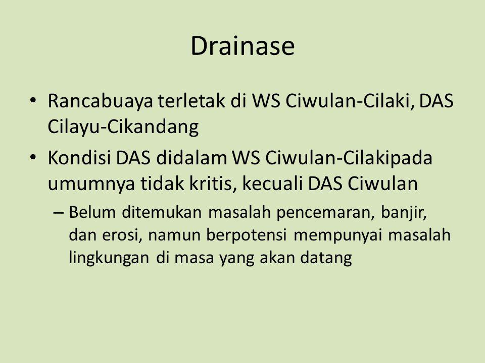 Drainase Rancabuaya terletak di WS Ciwulan-Cilaki, DAS Cilayu-Cikandang Kondisi DAS didalam WS Ciwulan-Cilakipada umumnya tidak kritis, kecuali DAS Ci