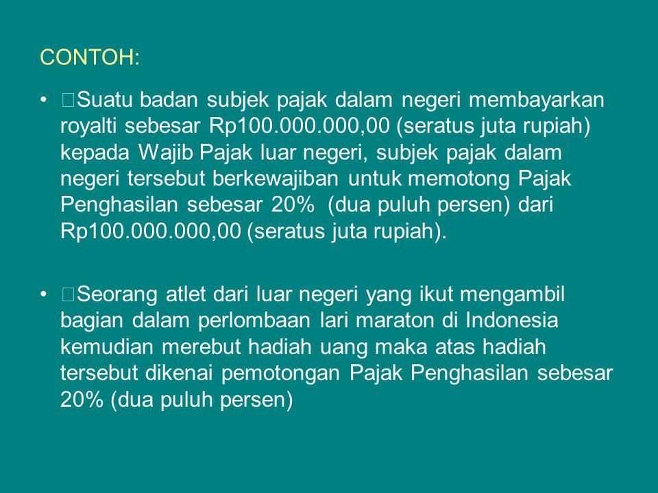 OBYEK DAN TARIF PPH PASAL 26 Tarif 20% dari perkiraan penghasilan neto: Atas penghasilan dari penjualan atau pengalihan harta di Indonesia, kecuali yang diatur dalam Pasal 4 ayat (2), yang diterima atau diperoleh Wajib Pajak LN selain BUT di Indonesia.