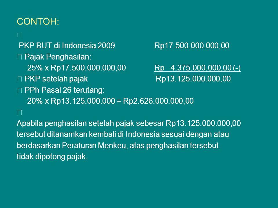 CONTOH: — PKP BUT di Indonesia 2009 Rp17.500.000.000,00 — Pajak Penghasilan: 25% x Rp17.500.000.000,00 Rp 4.375.000.000,00 (-) — PKP setelah pajak Rp1