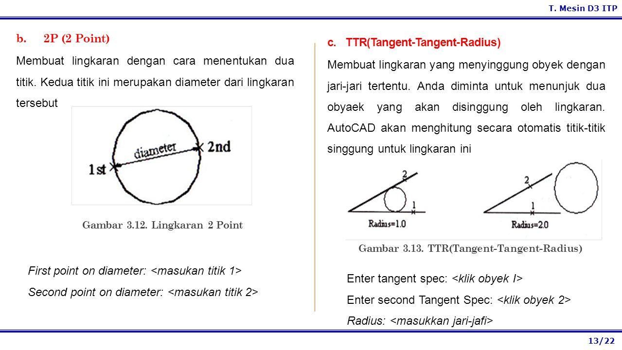 13/22 T.Mesin D3 ITP b. 2P (2 Point) Membuat lingkaran dengan cara menentukan dua titik.