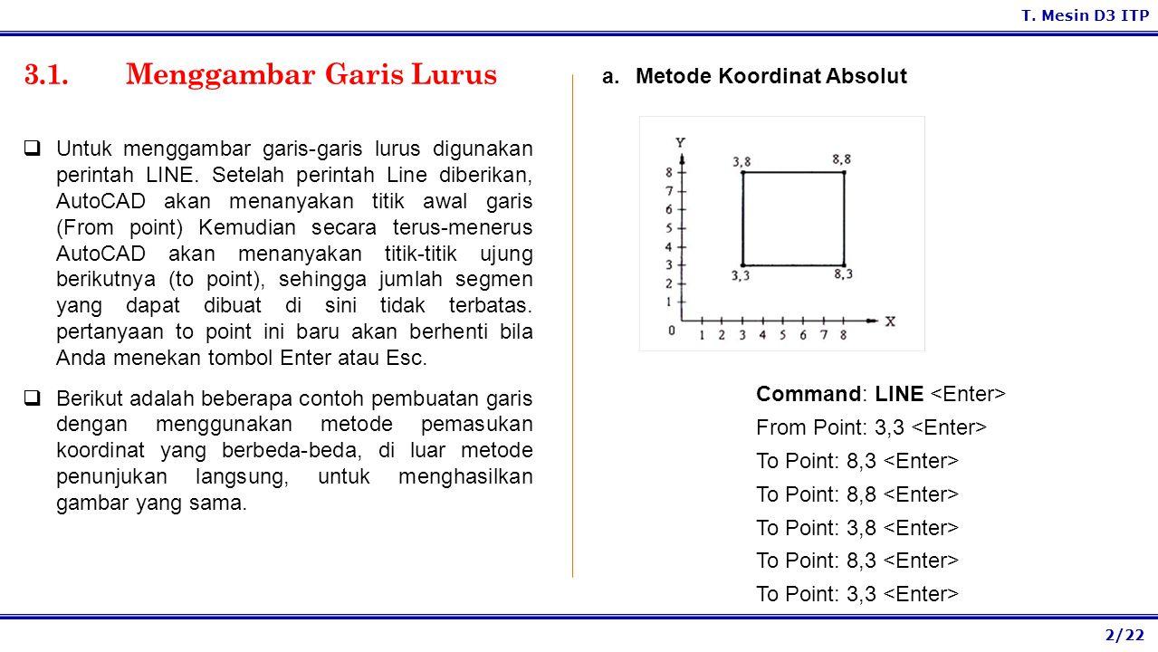 2/22 T.Mesin D3 ITP 3.1. Menggambar Garis Lurus a.