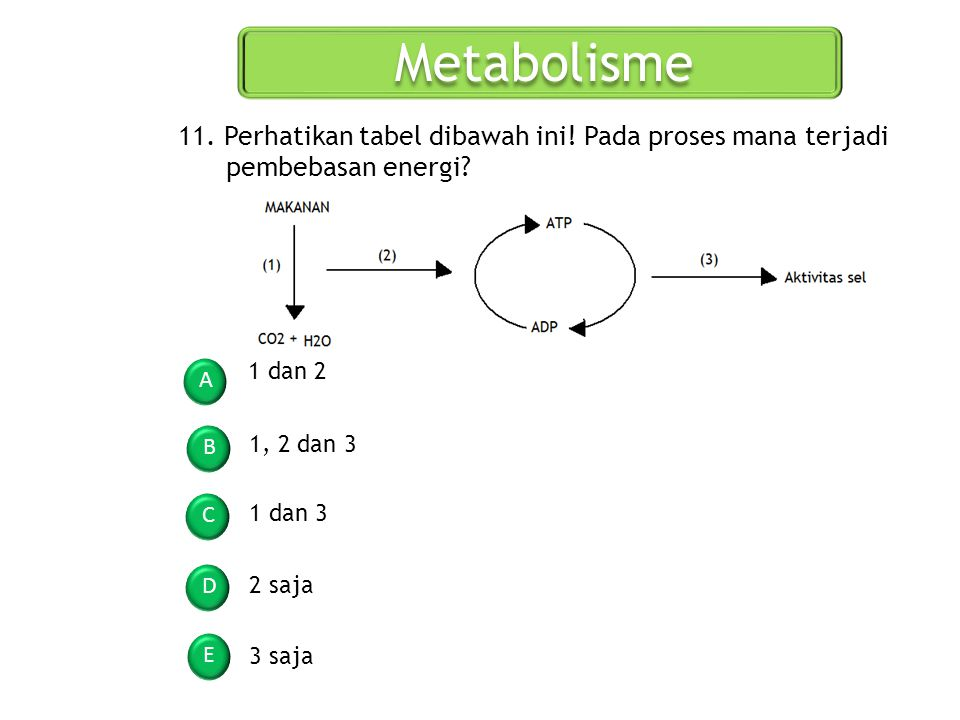 Metabolisme A B C D E 11. Perhatikan tabel dibawah ini! Pada proses mana terjadi pembebasan energi? 1 dan 2 1, 2 dan 3 1 dan 3 2 saja 3 saja