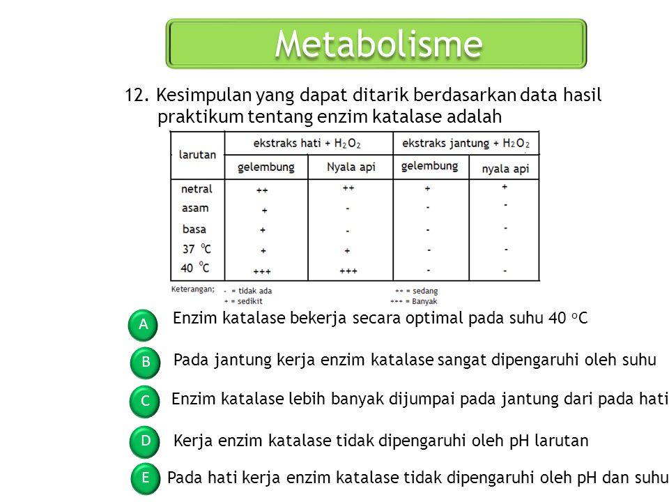 Metabolisme A B C D E 12. Kesimpulan yang dapat ditarik berdasarkan data hasil praktikum tentang enzim katalase adalah Enzim katalase bekerja secara o