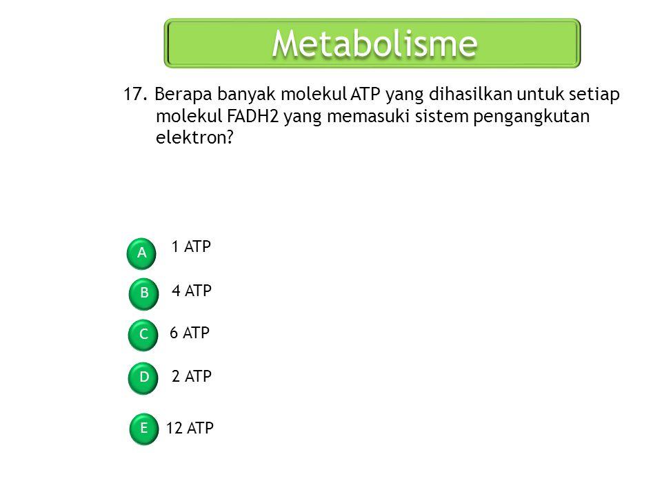 Metabolisme A B C D E 17. Berapa banyak molekul ATP yang dihasilkan untuk setiap molekul FADH2 yang memasuki sistem pengangkutan elektron? 1 ATP 4 ATP