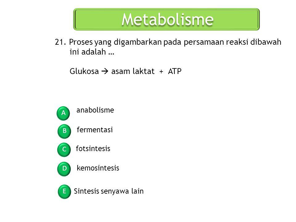Metabolisme A B C D E 21. Proses yang digambarkan pada persamaan reaksi dibawah ini adalah … Glukosa  asam laktat + ATP anabolisme fermentasi fotsint
