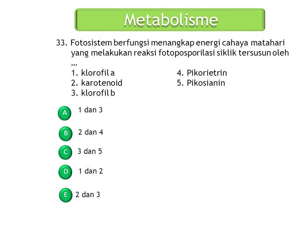 Metabolisme A B C D E 33. Fotosistem berfungsi menangkap energi cahaya matahari yang melakukan reaksi fotoposporilasi siklik tersusun oleh … 1. klorof