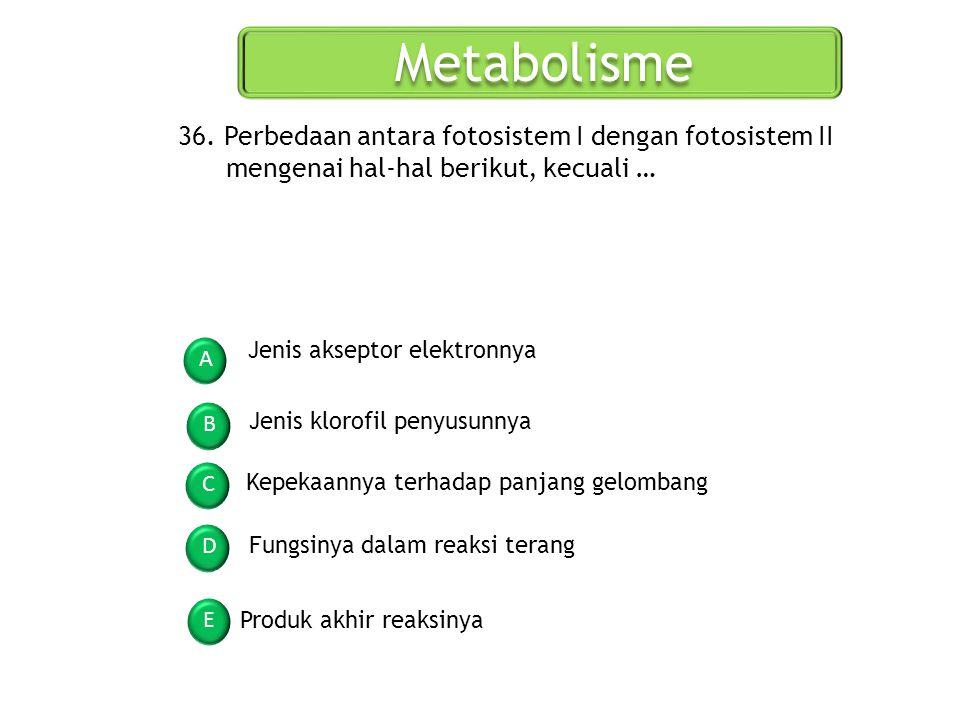 Metabolisme A B C D E 36. Perbedaan antara fotosistem I dengan fotosistem II mengenai hal-hal berikut, kecuali … Jenis akseptor elektronnya Jenis klor
