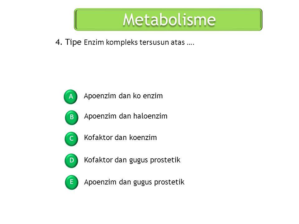 Metabolisme A B C D E 4. Tipe Enzim kompleks tersusun atas …. Apoenzim dan ko enzim Apoenzim dan haloenzim Kofaktor dan koenzim Kofaktor dan gugus pro