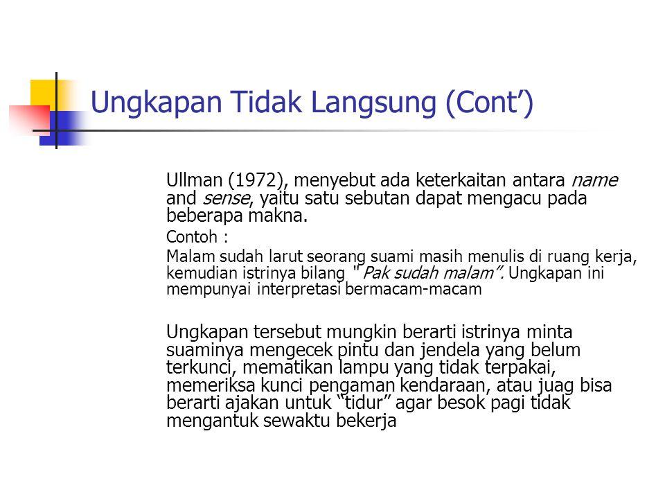 Ungkapan Tidak Langsung (Cont') Ullman (1972), menyebut ada keterkaitan antara name and sense, yaitu satu sebutan dapat mengacu pada beberapa makna. C